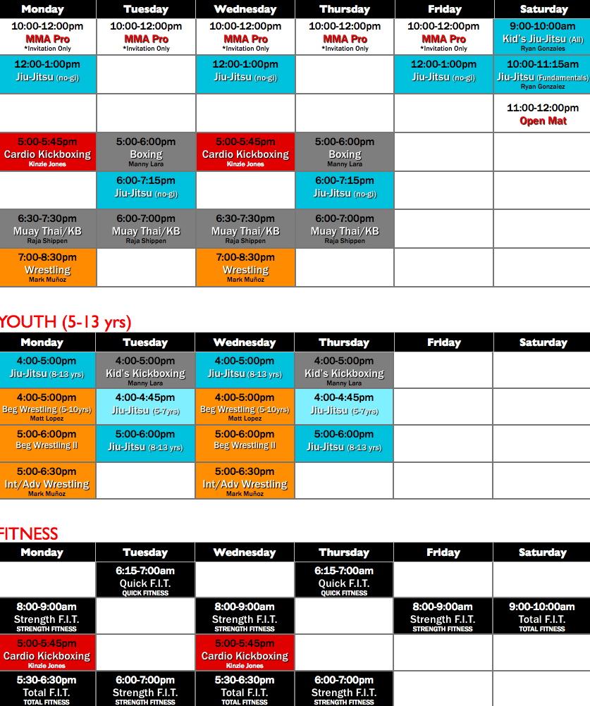Reign Class Schedule.001